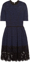 Oscar de la Renta Lace-trimmed stretch-knit dress