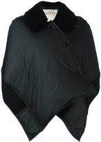 Marni shearling collar padded cape - women - Feather Down/Sheep Skin/Shearling/Polyamide/Lamb Fur - 40