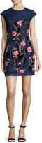 Sachin + Babi Cap-Sleeve Mixed-Media Mini Dress, Navy