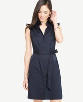 Ann Taylor Poplin Ruffle Neck Belted Shirtdress