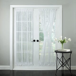 Bed Bath N More Semi-Sheer Micro-Stripe 72 Inch Tailored Door Curtain Panel with Tieback - 72x60