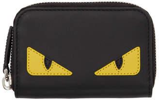 Fendi Black Small Bag Bugs Zip Around Wallet