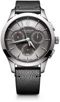 Victorinox Stainless Steel Chronograph Pebbled Leather Strap Watch