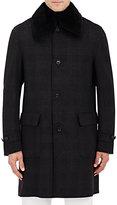 Brioni Men's Fur-Collar Flannel Car Coat-DARK GREY