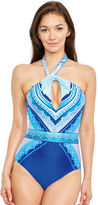 Gottex Blue Jasmine High Neck Swimsuit