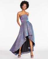 Speechless Juniors' Metallic Glitter Scuba Strapless High-Low Dress, Created For Macy's