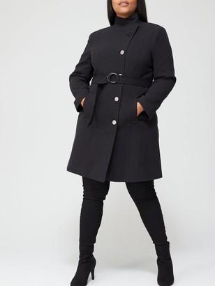 V By Very Curve Belted Formal Coat - Black