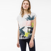 Paul Smith Women's White Sleeveless Top With 'Abstract Botanical' Print