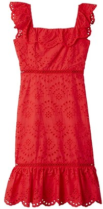Sam Edelman Eyelet Ruffle Neck Dress (Coral) Women's Dress