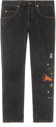 Gucci Embroidered tapered denim pant