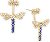 Betsey Johnson Gold-Tone Blue and Clear Pavé Dragonfly Front and Back Earrings