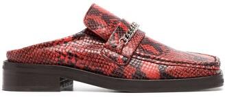 Martine Rose Snakeskin-Effect Backless Loafers