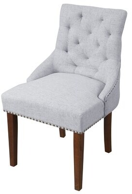 Canora Grey Pesce Tufted Linen Upholstered Parsons Chair Upholstery Color: Gray
