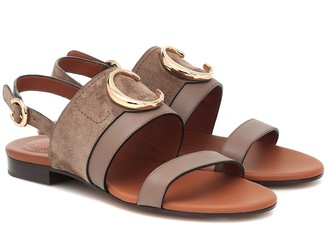 Chloé C suede and leather sandals