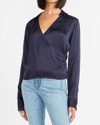 Express Jacquard Dot Wrap Front Button Side Top