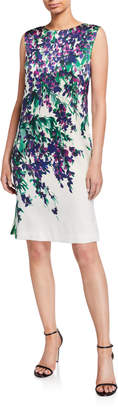 St. John Budding Floral Silk Dress