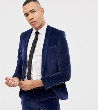 Twisted Tailor Tall super skinny suit jacket in navy velvet
