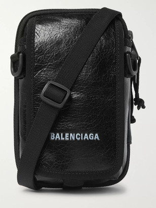 Balenciaga Arena Logo-Print Crinkled-Leather Pouch