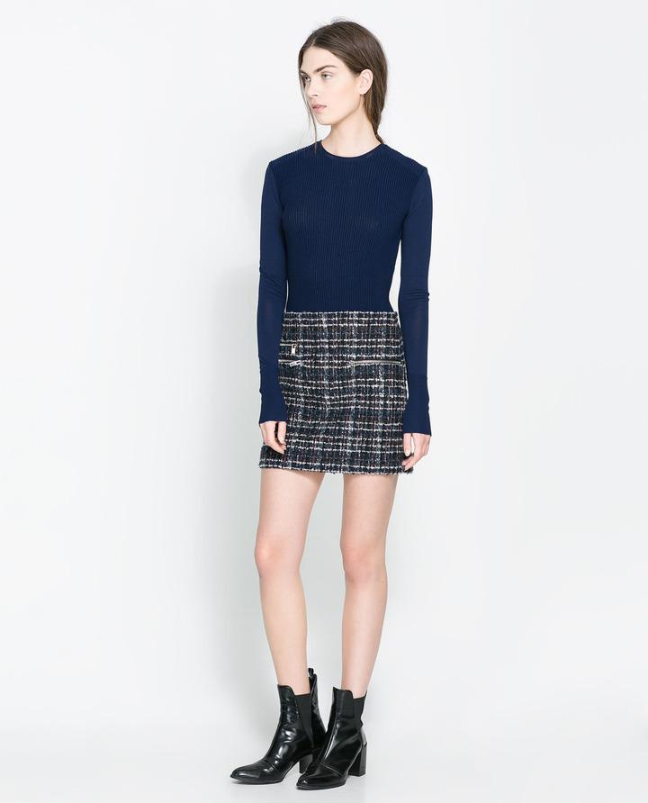 Zara Mini Skirt With Zip Details