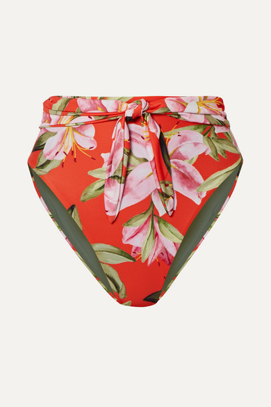 Mara Hoffman Net Sustain Goldie Tie-front Floral-print Bikini Briefs - Bright orange