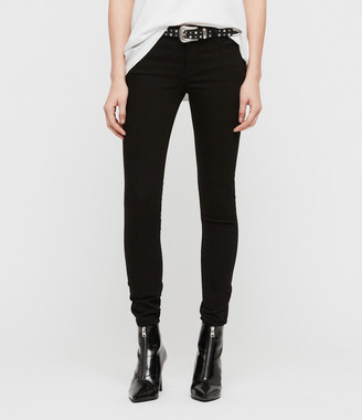 AllSaints Mast Skinny Low-Rise Jeans, Jet Black