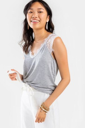 francesca's Bella V-Neck Lace Top - Heather Gray