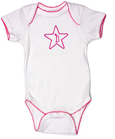 Princess Linens White & Raspberry '1 Month' Bodysuit - Infant