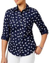 Karen Scott Petite Butterfly-Printed Roll-Tab Shirt