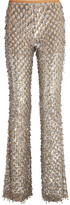 Michael Kors Embellished Stretch-tulle Flared Pants - Silver