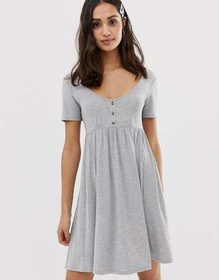 Asos Design DESIGN scoop neck mini button front smock dress-Grey