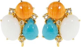 Bounkit Jewelry White Agate Clip Earrings