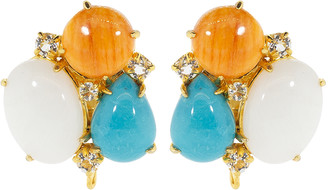 Bounkit White Agate Clip Earrings