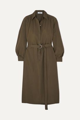Frankie Shop Loulou Twill Midi Dress - Army green
