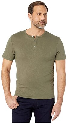 Alternative Slub Henley (Dark Olive) Men's Clothing
