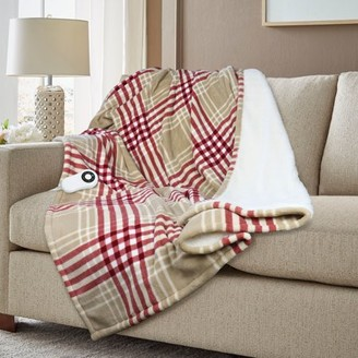 Serta Reversible Microplush-Sherpa Fleece Solid and Patterned Heated Throw, 5 Heat Settings, 4-hour Safety Shut-off