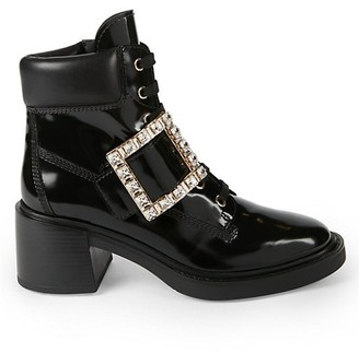 Roger Vivier Viv Rangers Strass Patent Leather Hiking Boots