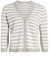 Joan Vass Striped Button-Up Cardigan