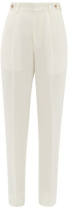 Umit Benan B+ - High-rise Pleated Crepe Trousers - Womens - White