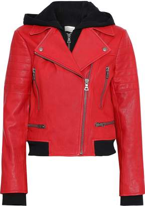 Alice + Olivia Avril French Terry-trimmed Leather Hooded Biker Jacket