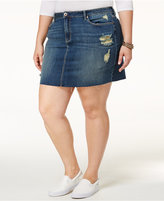 American Rag Trendy Plus Size Ripped Denim Mini Skirt, Only at Macy's
