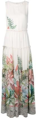 Black Coral Floral Print Maxi Dress