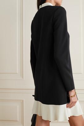 RED Valentino Georgette-trimmed Crepe Mini Dress - Black