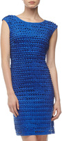 Neiman Marcus Laser-Cut Sheath Dress, Royal Blue