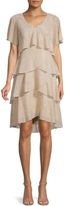 Ignite Evening Short-Sleeve Tiered Metallic Dress
