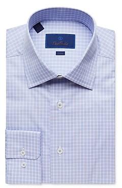 David Donahue Tonal Plaid Trim Fit Dress Shirt