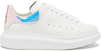Alexander McQueen Oversized Holographic-heel Leather Trainers - White Multi