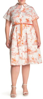Donna Morgan Printed Belted Pleated Dress (Plus Size)