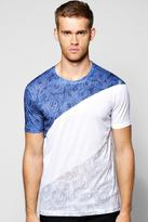 Boohoo Longline Spliced Floral T Shirt