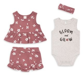 PL Baby by Petit Lem Baby Girl Peplum Top, Shorts, Bodysuit & Headband, 4-pc Outfit Set
