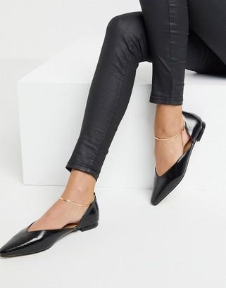 ASOS DESIGN Lark ballet flats with anklet in black patent